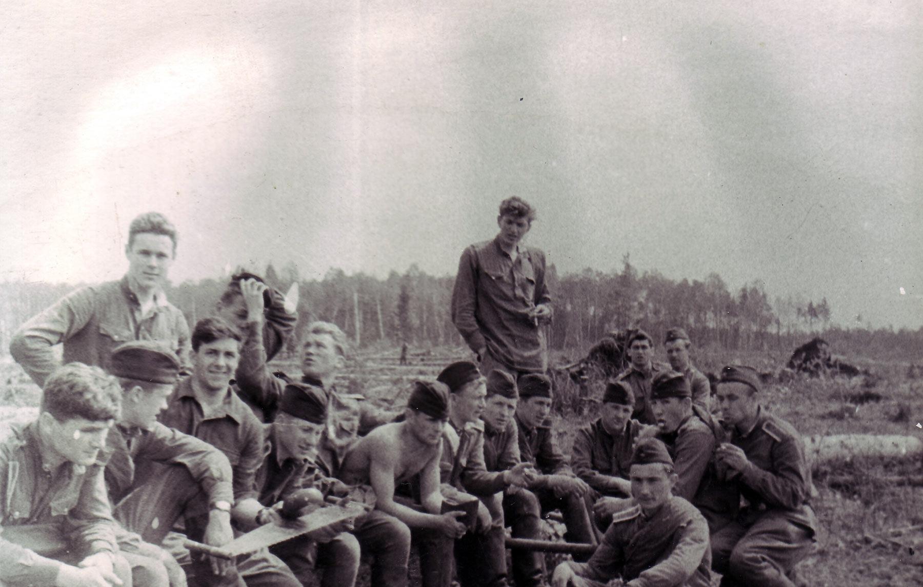 3-й взвод 6-ой роты на лесозаготовках.