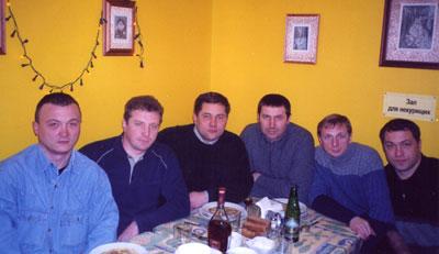 Встреча в 2003 в Санкт-Петербурге (справа: Леша Ремизов, Андрей Павлюченков, Олег Константинов, Андрей Стародумов, Володя Горегляд)