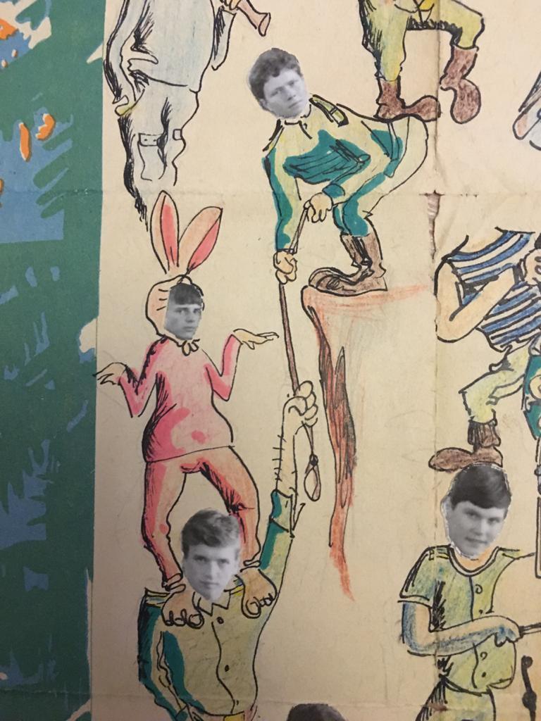 """Фрагмент """"Боевого листка"""", сверху Гена Лысков, слева Саша Сайчик и Витя Запевалов, справа Олег Соболь.  А чья то голова над тельняшкой оторвалась  (("""